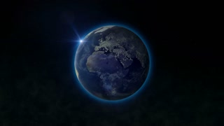 Planet Earth with Sun. Concept animation.