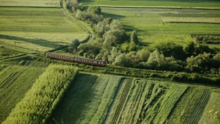 Red train in romanian landscape. Nature and travel background.