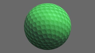 Rotating golf ball. Alpha channel.