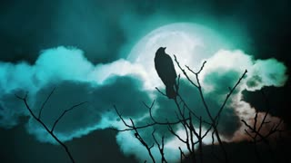 Silhouette of a tree with a crow and full moon at midnight.