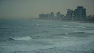Storm in the Mediterranean Sea. Beach in Tel Aviv, Israel, cca 2015.