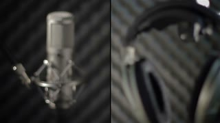 Studio microphone and headphone - montage