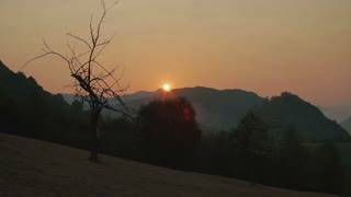 Sunrise over the hills in the Carpathians.