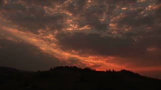 Twilight over the pin in the Carpathian Mountains. Extra long shot.