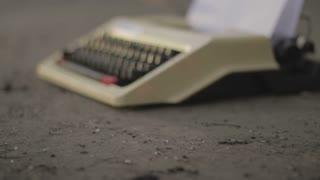 Typewriter. Dolly shot.