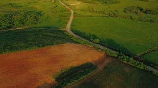Aerial view of a agricultural land with road
