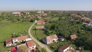 Aerial view of the village - church
