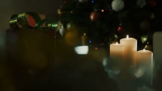 Christmas candles and gift