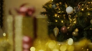Christmas decoration and gift box - soft focus