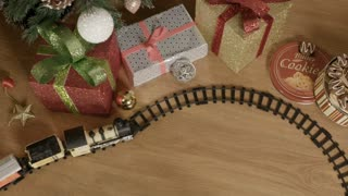 Christmas toy train - copy space