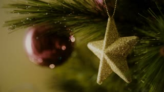Christmas tree decoration with golden star