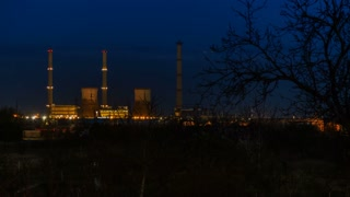 Coal Power Plant Night to Day - time lapse