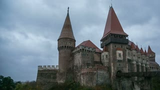 Corvin Castle in Transylvania, Romania, on a rainy day. Dark atmosphere