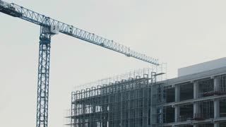 Crane boom on a construction site