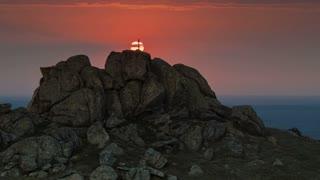 Cross on mountain at sunset - LS