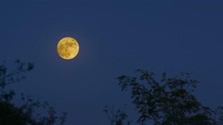 Full moon on blue sky background