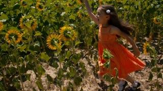 Girl with flower runs through a sunflower field - slo mo