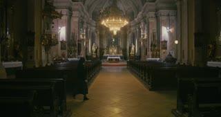 Interior of a catholic church - nun
