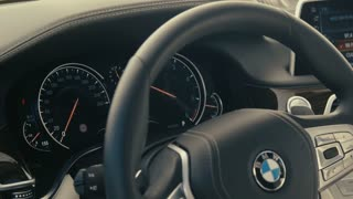 Luxury car interior - dolly shot CU