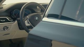 Luxury car interior - dolly shot MS