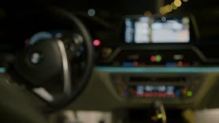 Luxury car interior - focus in