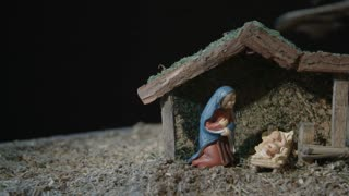 Nativity Scene With The Holy Family - Pan Shot