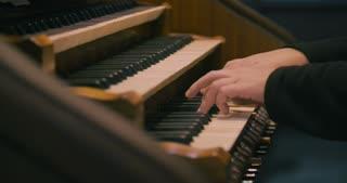 Old church organ - keyboard