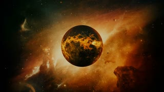 Old dying planet in colorful space with large lava explosions. Apocalypse and Ecological concept.