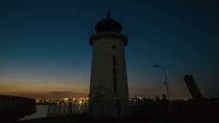 Old lighthouse in Mangalia Romania - night time lapse