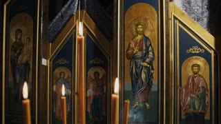 Orthodox icons and candles