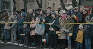 People watch romanian military parade