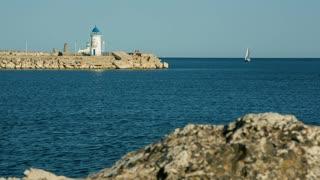 Port and sailing boat at the Black Sea
