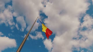 Romanian flag and clouds - slow motion