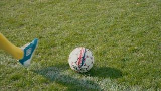 Shooting a goal - slo mo