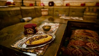 Traditional cuisine in a Tatar-Turkish restaurant with vintage decorations