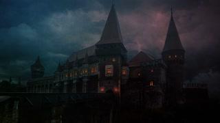 Transylvanian medieval castle on a storm evening