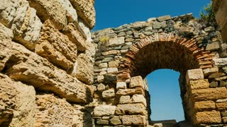 Window details of the ruins of the ancient Greek city of Histria