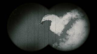 World War II era military airplane falling down