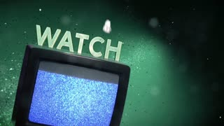 Watch retro TV playing static with snowflakes and text.