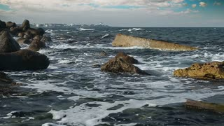 Waves Crashing on Beach.