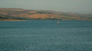 Windsurfing recreation on the Sea of Galilee. Israel, cca. 2015