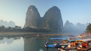 Boats on Li River, Xingping, Yangshuo, Guangxi, China