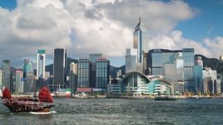 Boats passing through Victoria Harbour, Hong Kong, China