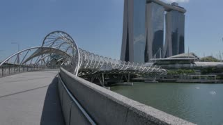 Helix Bridge and Marina Bay Hotel, Singapore, South Asia