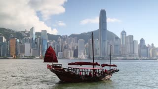 Junk boat in Victoria Harbour, Hong Kong, China