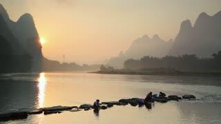 Li River at dawn, Xingping, Yangshuo, Guangxi, China