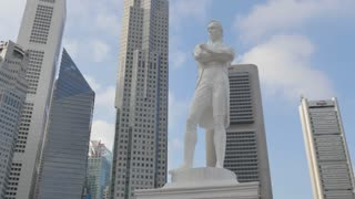 Raffles Monument and Central Business District, Boat Quay, Singapore, South Asia