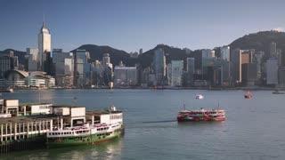Star Ferry Terminal and Hong Kong Island skyline, Hong Kong, China