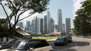 Traffic and Central Business District Skyline, Singapore, South Asia