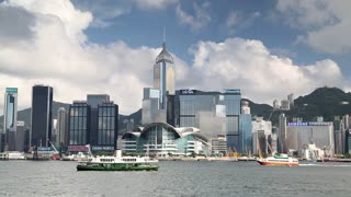 Victoria Harbour and Hong Kong Island skyline, Hong Kong, China